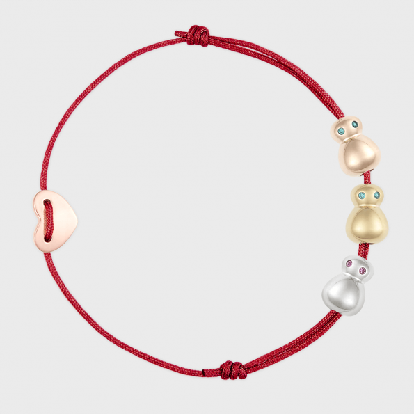nomi 3er Gluecksfloh Armbaendchen - scarlet red