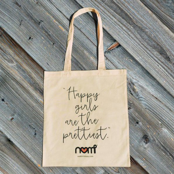 nomi tote bag - happy girls are the prettiest / pastell gelb