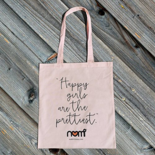 nomi tote bag - happy girls are the prettiest / pastell pink