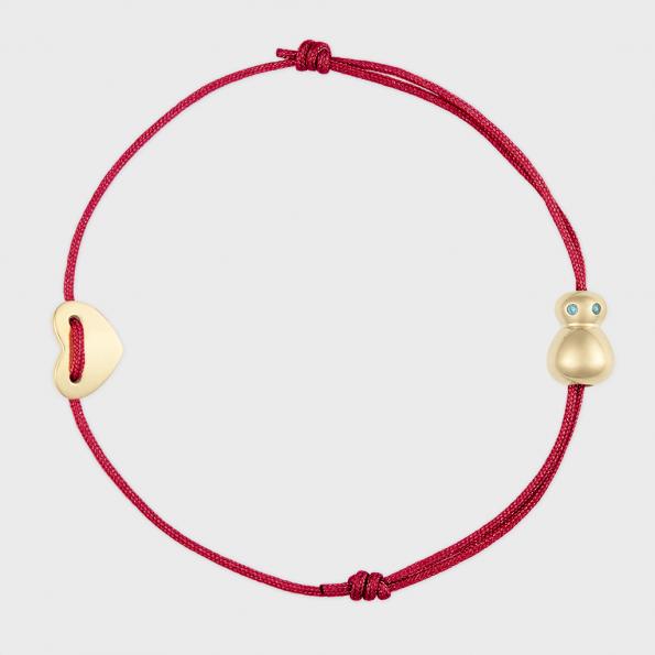 nomi Glücksfloh Bändchen 14K vergoldet scarlet red