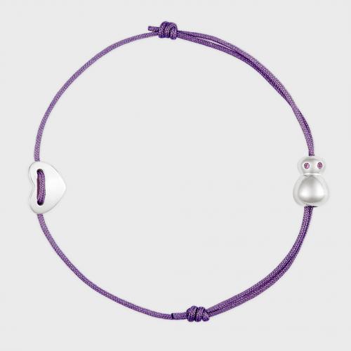 nomi Glücksfloh Armbändchen Edelstahl - purple haze