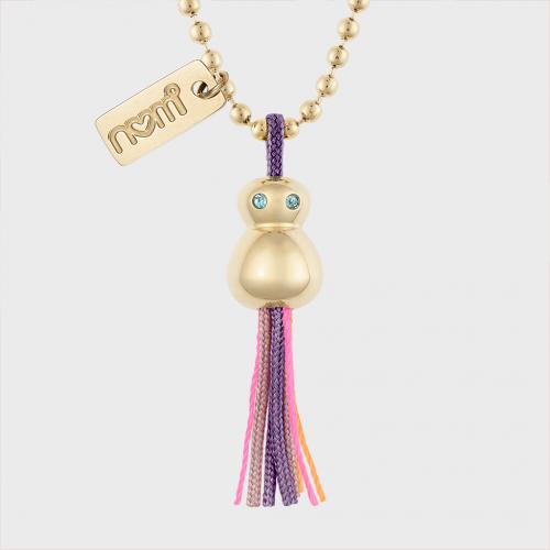 nomi Glücksfloh Halskette ballchain 90cm 14K vergoldet - purple haze